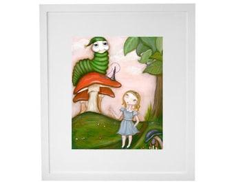 Alice in Wonderland print - kids room, nursery, wall art