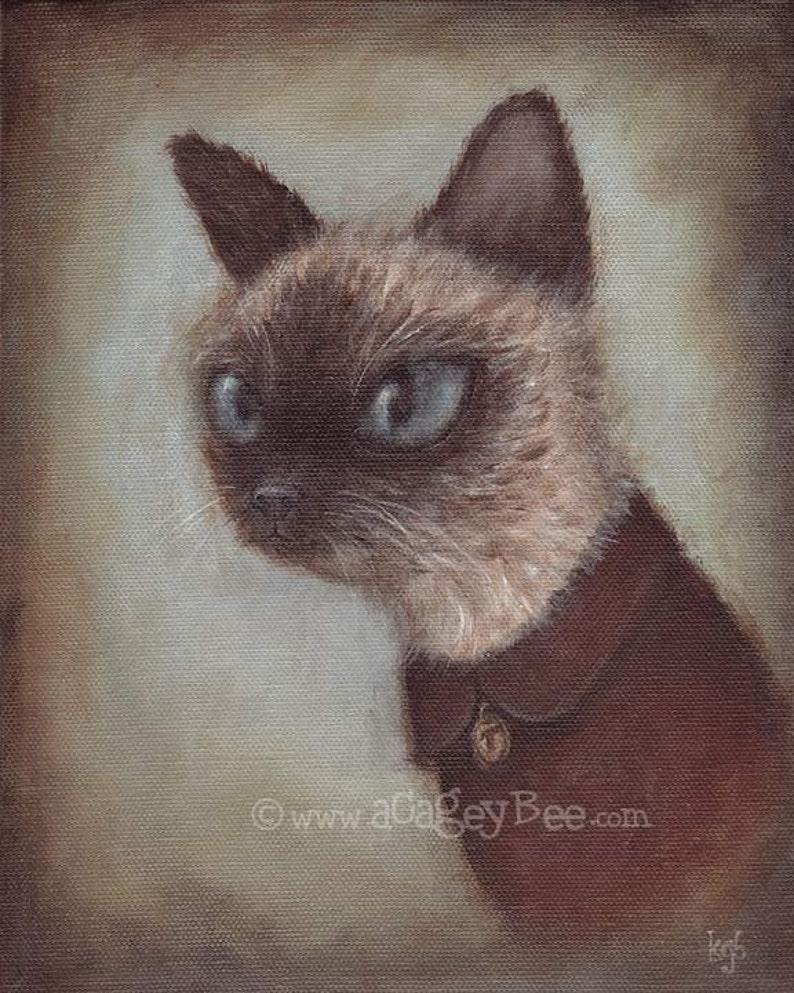 Cat Art Print  Theo 8x10 pet portrait painting cute animal image 0
