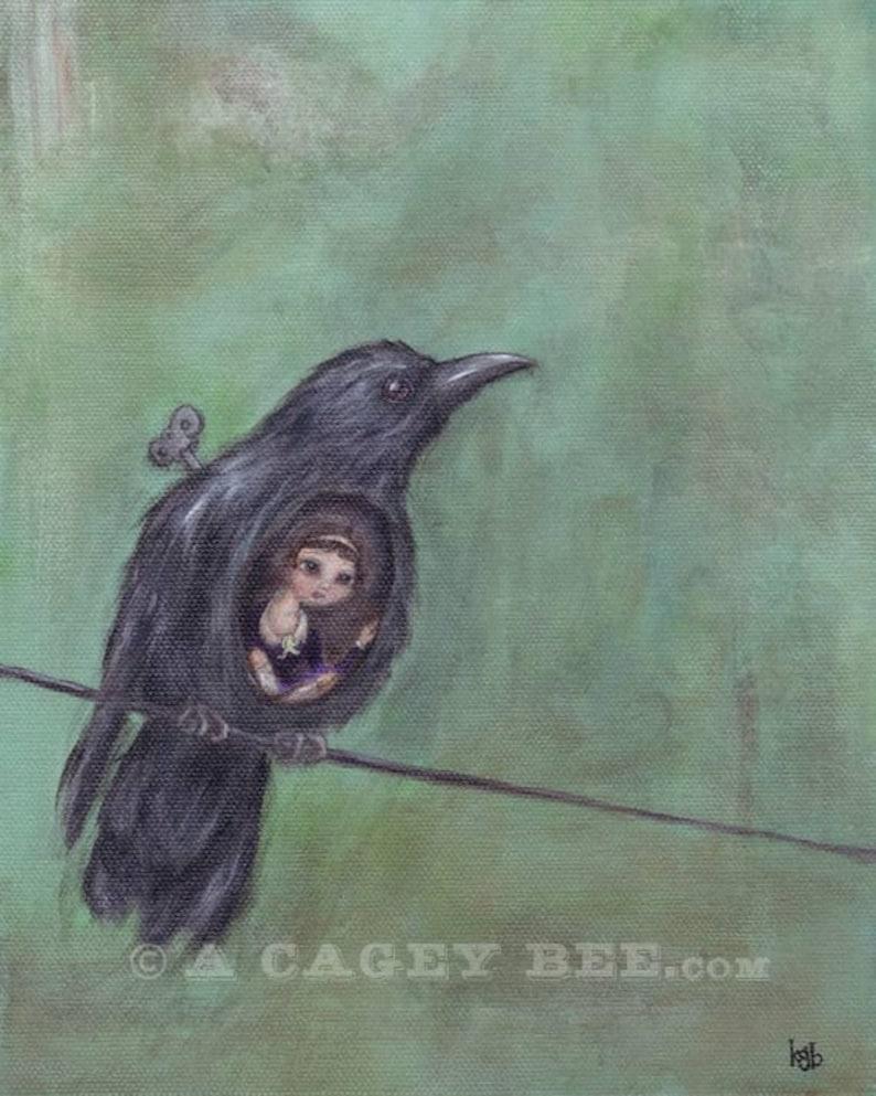 As the Crow Flies giclee print  bird painting 8x10 bird print image 0