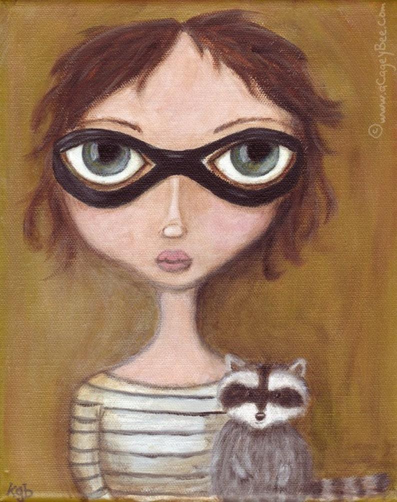 Bandits  giclee print cute raccoon acrylic painting image 0