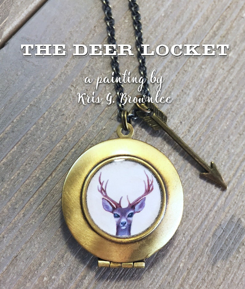Deer Locket  antler necklace pendant woodland jewelry with image 0