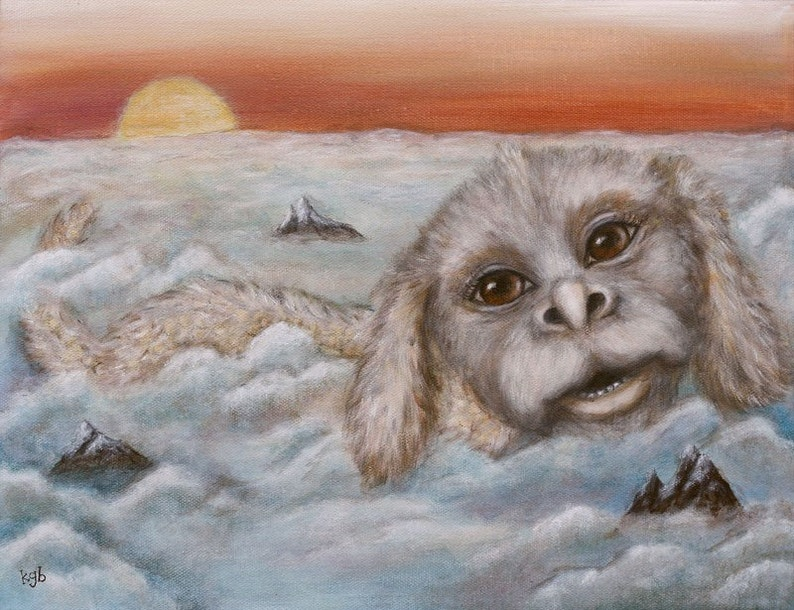 Luck Dragon Above the Clouds giclee print of original acrylic image 0