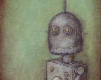 Robot No. 2 - Eugene - robot art print, robot painting
