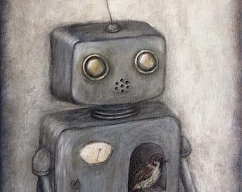 Robot Art - Rupert (robot no.5) - wall art, giclee print