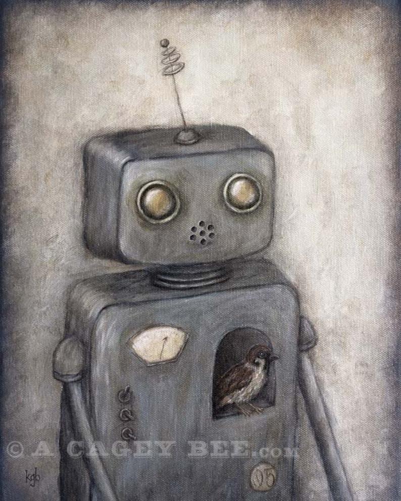 Robot Art  Rupert robot no.5  wall art giclee print image 0