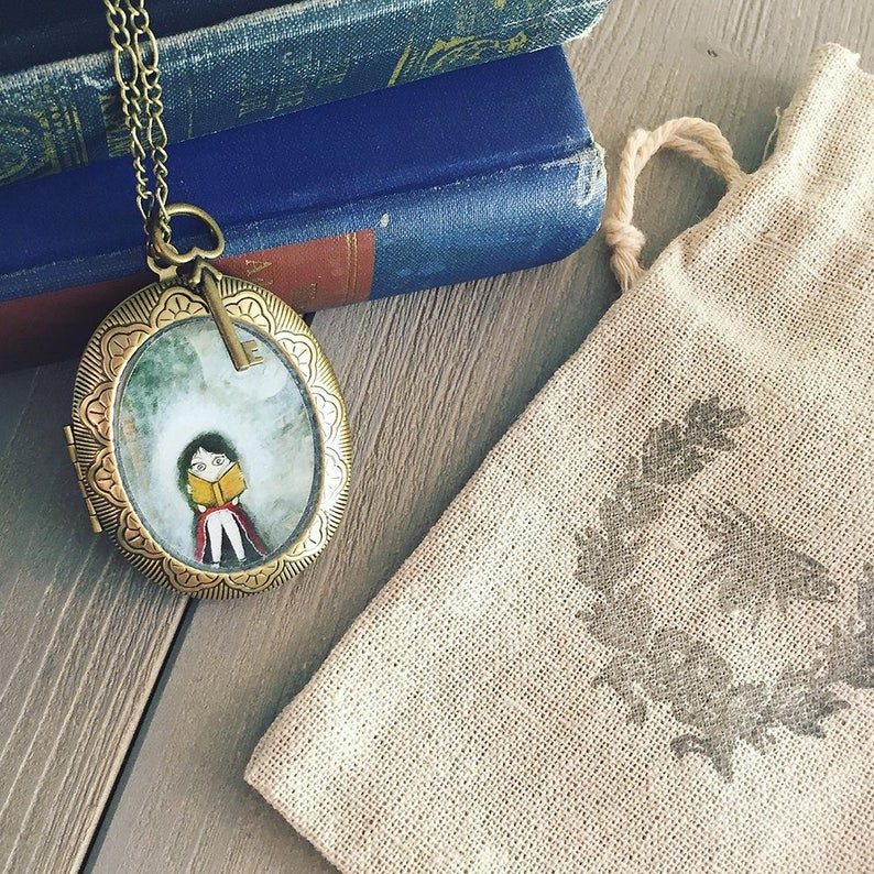 Antique Locket  A Grand Adventure  reader necklace pendant image 0