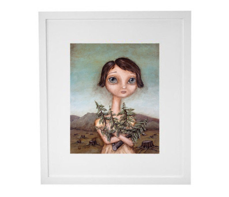 The Tree Hugger  art print painting giclee portrait image 0