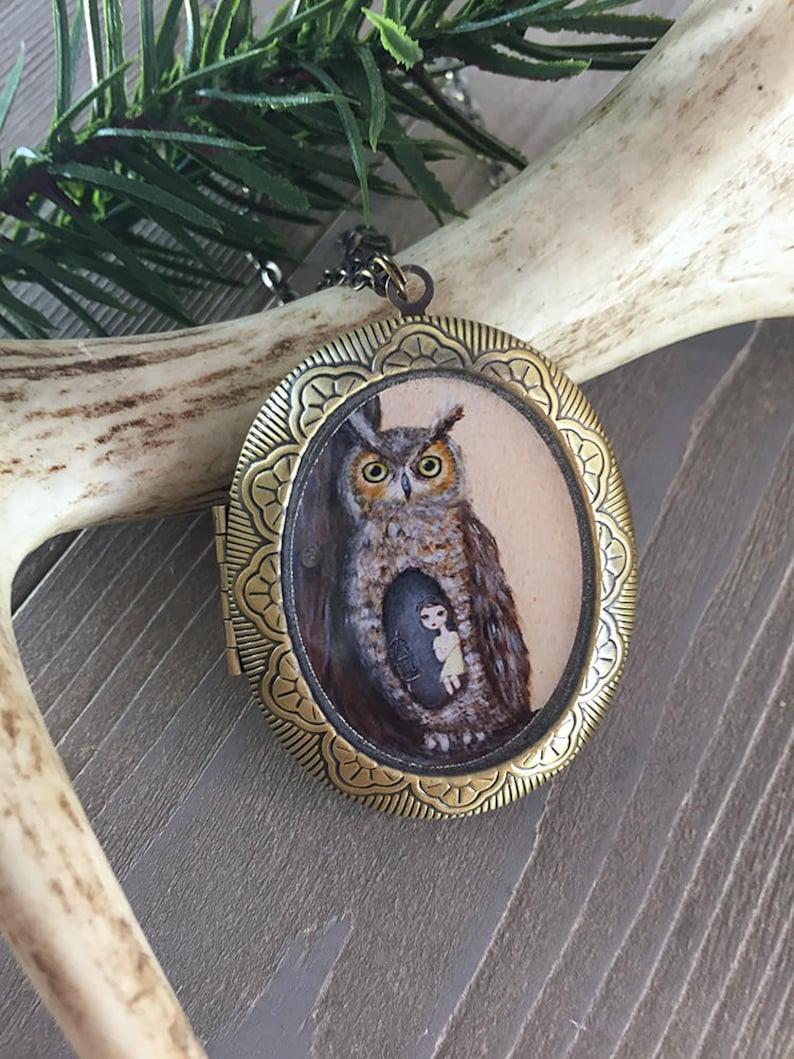 Owl Locket  bird necklace jewelry with owl art pendant image 0