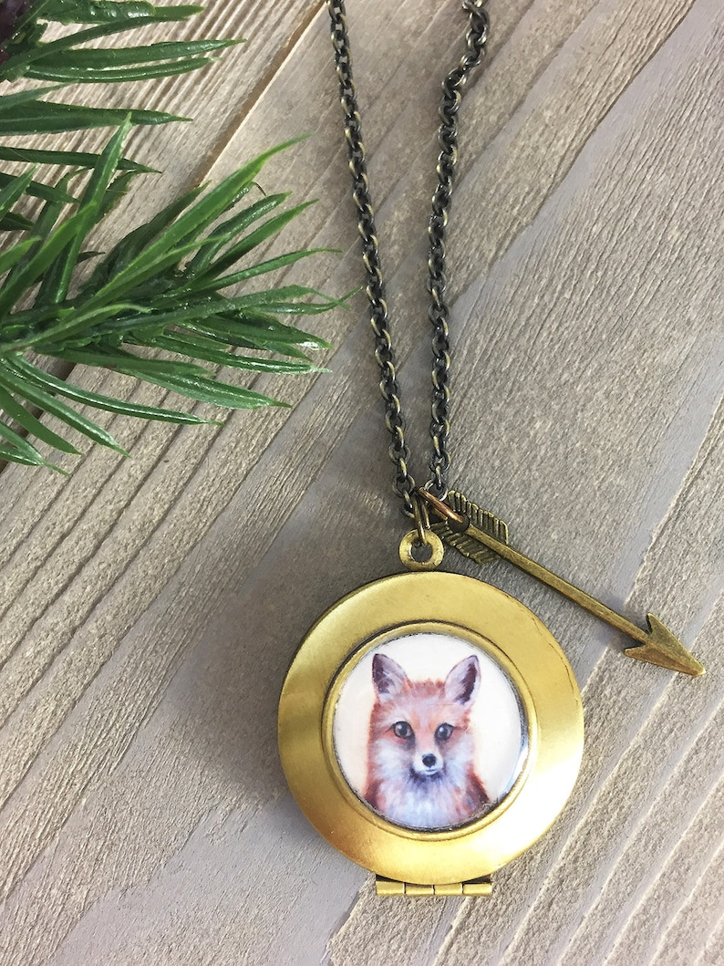 Fox Necklace Locket  Cute Fox Pendant gift for her  Fox image 0