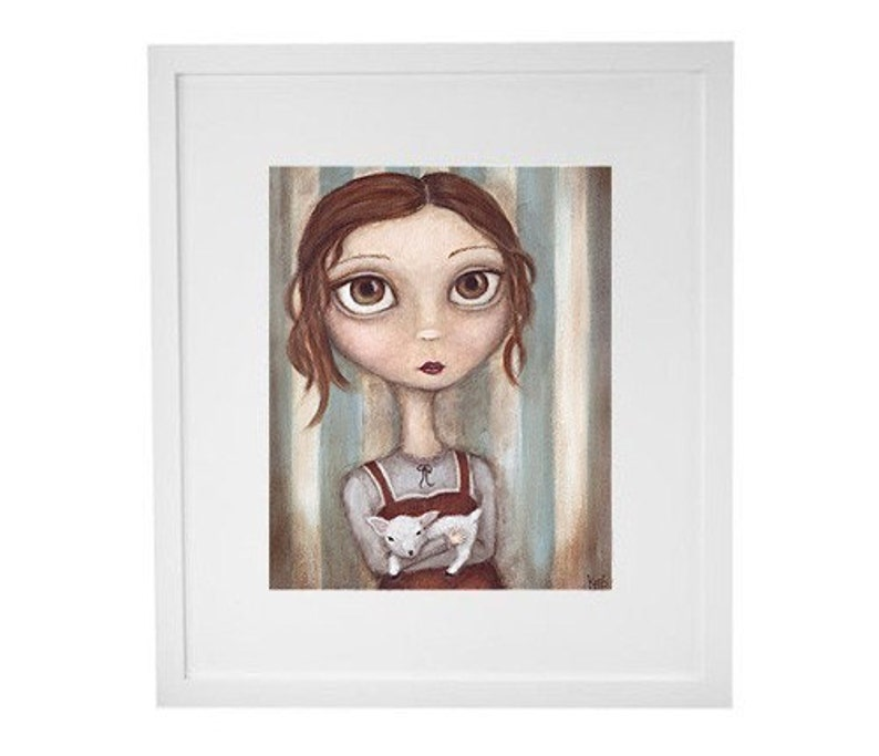 Lena and her Little Lamb print  8x10 art print giclee image 0
