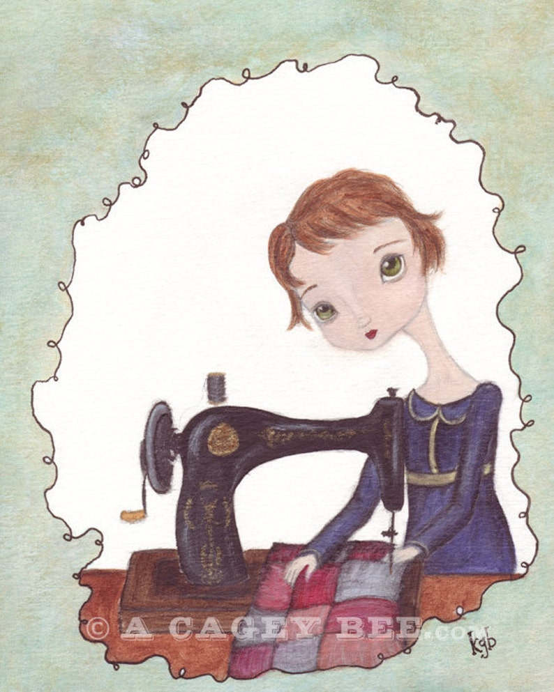 The Seamstress cute art print  art for the craft room sewing image 0