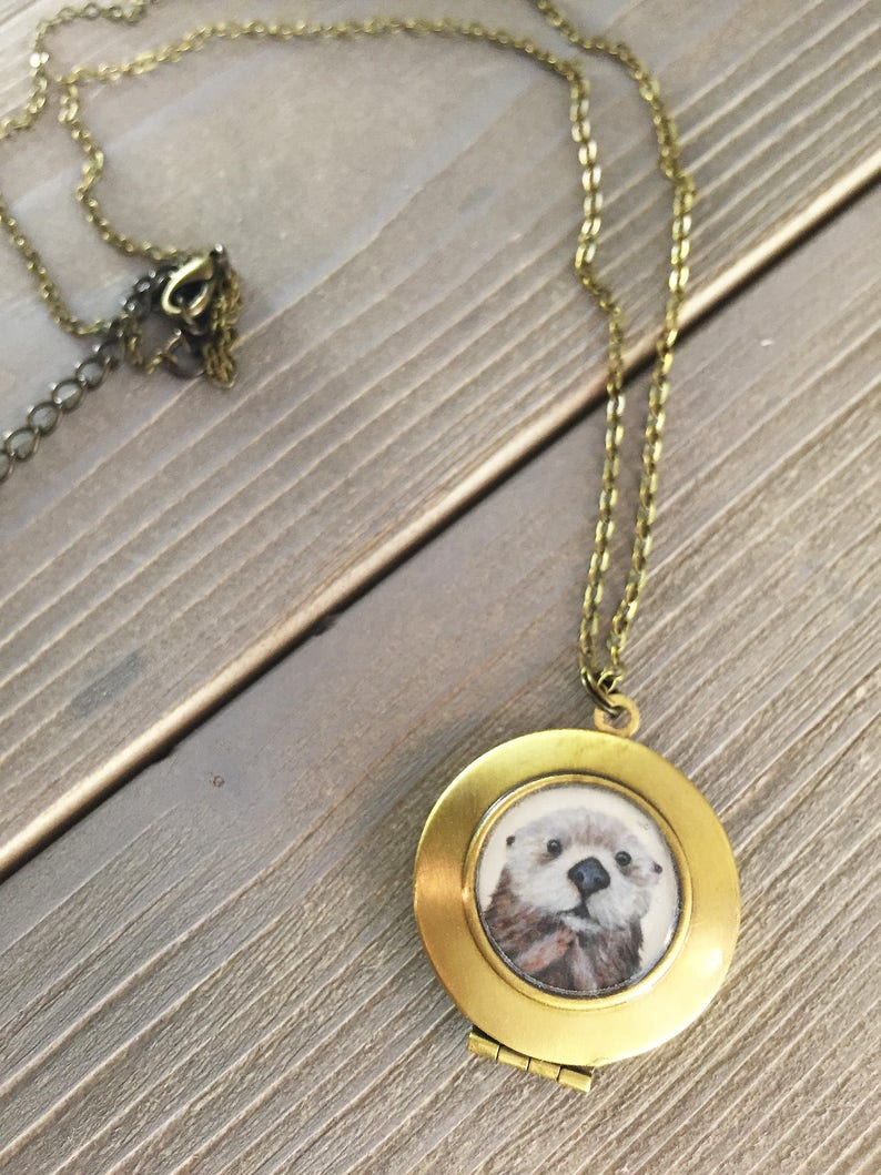 Otter Necklace  Cute necklace for girlfriend from otter print image 0