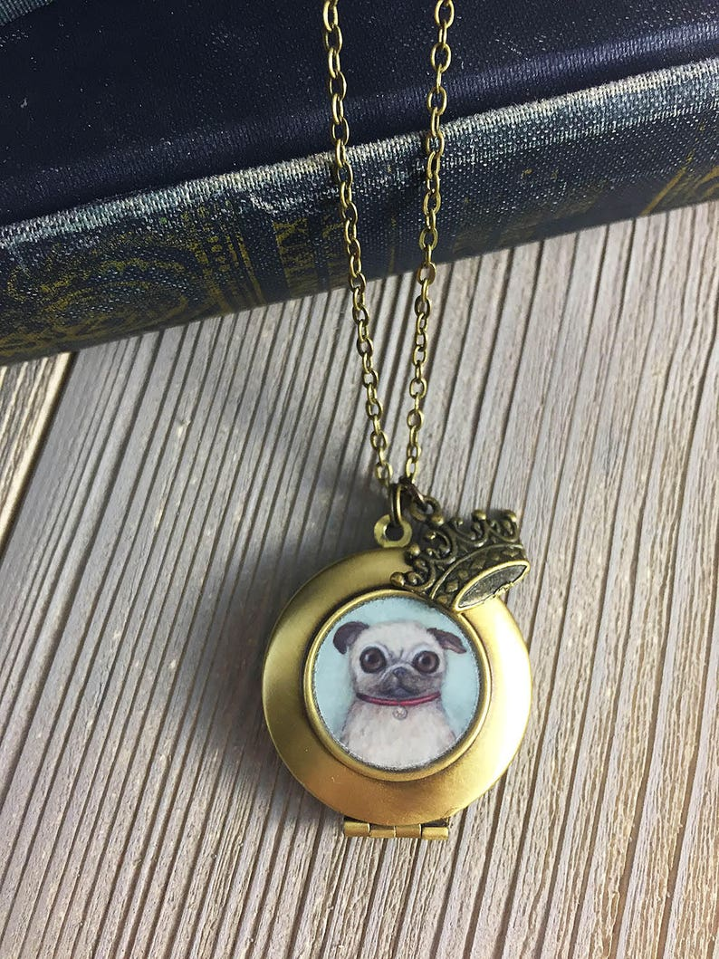 Pug Locket  William the Fawn Pug art pendant necklace pug image 0