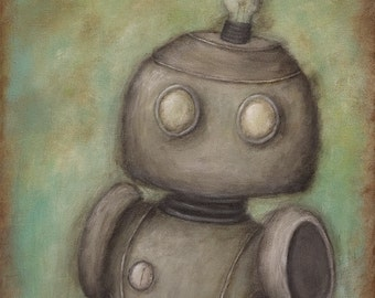 Robot No. 3 - Cecil - giclee print of original painting, robot art kids room decor