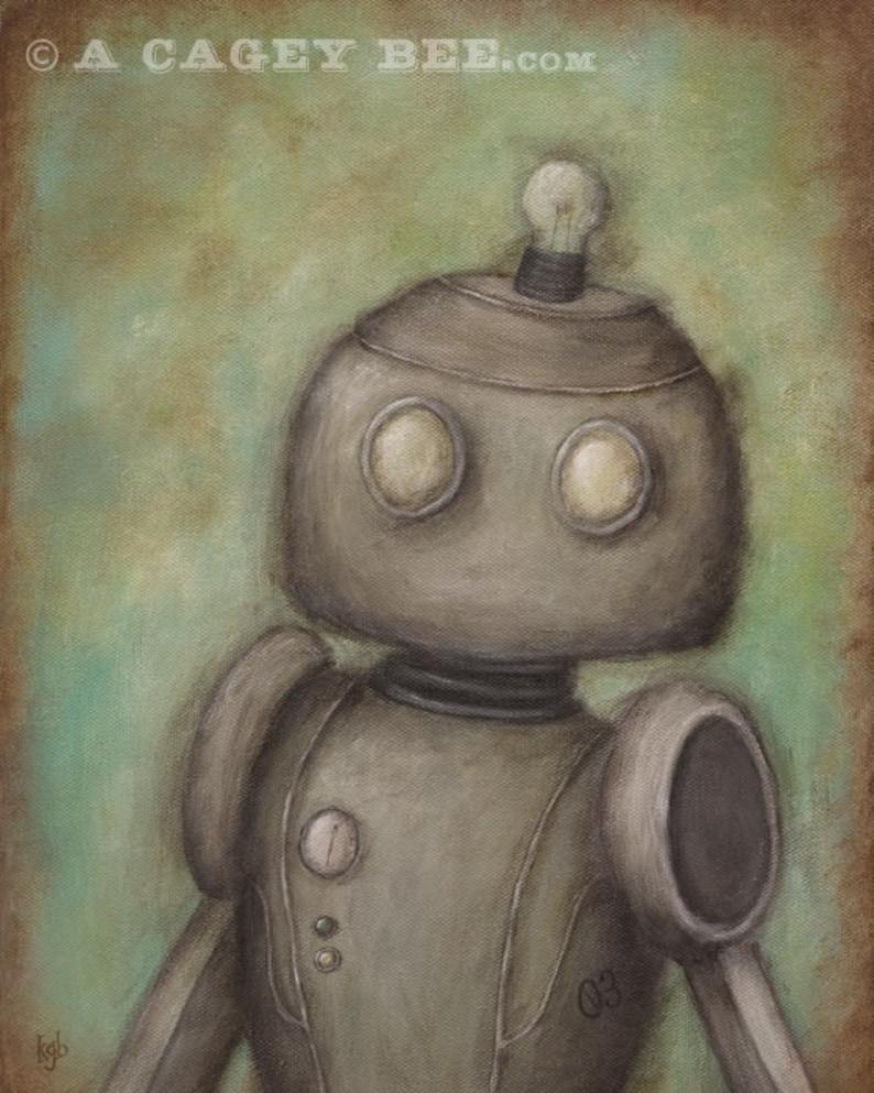 Robot No. 3  Cecil  giclee print of original painting robot image 0
