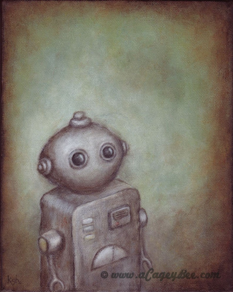 Robot art  giclee print of robot painting Stanley image 0
