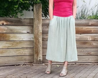 Gathering Skirt tea length (hemp and organic cotton)