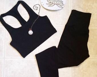 Light Layer leggings set in BLACK (lightweight stretch hemp)