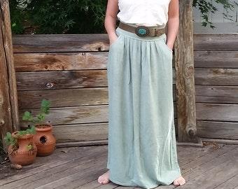 Gathering Skirt maxi length (hemp and organic cotton)