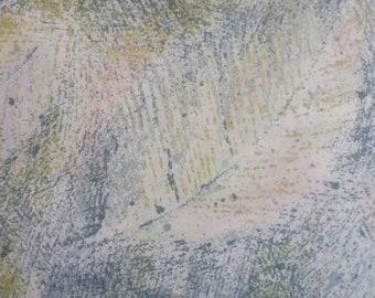 Japanese cotton print - 1/2 yard of aqua Large Leaves