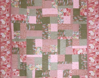 Patchwork Quilt - pink and green Japanese Bits and Pieces