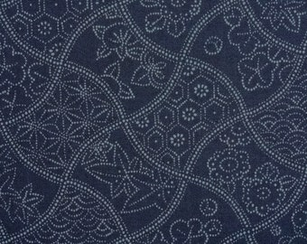 Japanese cotton print - 1/2 yard of blue Wavy Floral