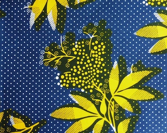 West African cotton print - 1/2 yard of yellow and blue Dotty Flower