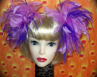Custom Made Lilac and Purple Feather Hair Clips By Taissa Lada,Feather Hair Puffs,Hair Clips,Feather Fascinator,Pageant,Cosplay.Burlesque