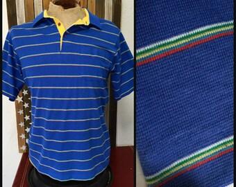 6c859fa89b 80s Blue Rainbow Stripe Polo Shirt Banff Medium Large