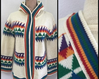 9886e661afd0cf Vintage 70s Rainbow Striped Cardigan