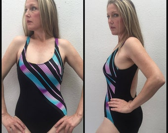 3268bd20105f0 Vintage 70s Striped One Piece Swimsuit, 1970s Bathing Suit, Striped Swim  Suit 1980s, Blue Turquoise Retro Purple Black Small Medium