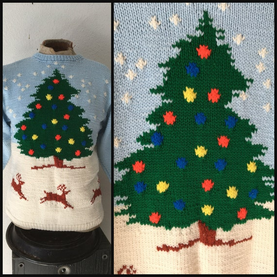 Ugly Christmas Tree Sweater Women Vintage, Wool Ch