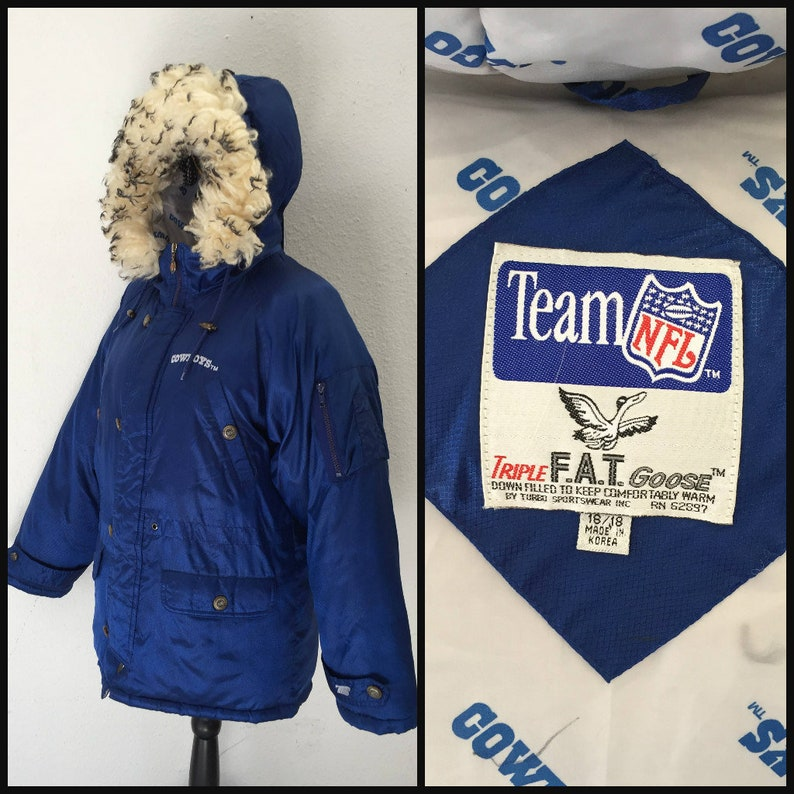 finest selection cc33d 5747e Vintage Dallas Cowboys Winter Jacket NFL -Triple Fat Goose - Puffer Jacket  with Hood