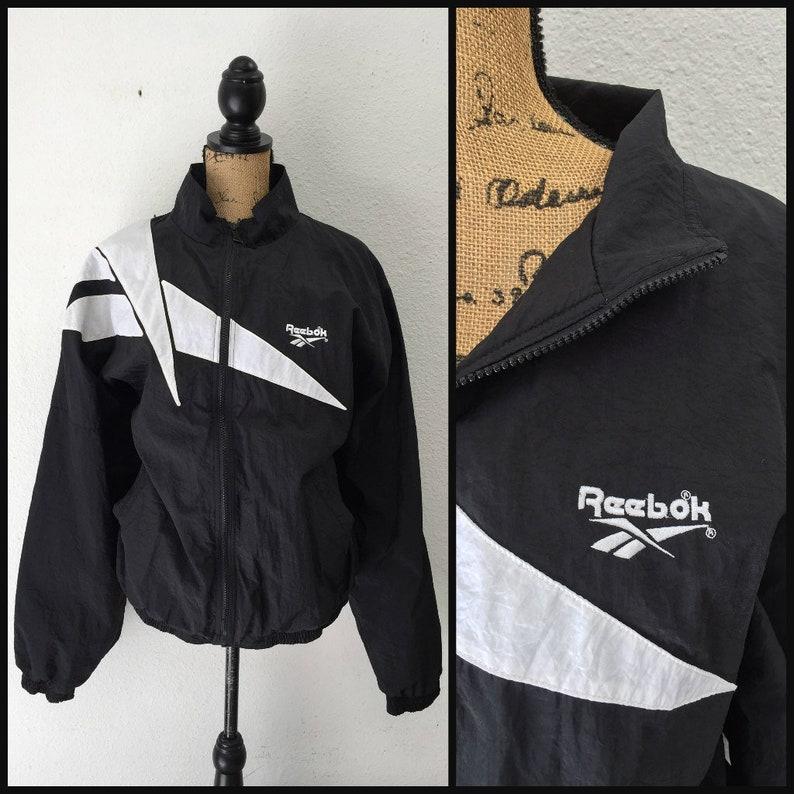 98a45515608ec Vintage Reebok Windbreaker 1990s - Reebok Jacket 90s Streetwear - Black and  White Medium Large