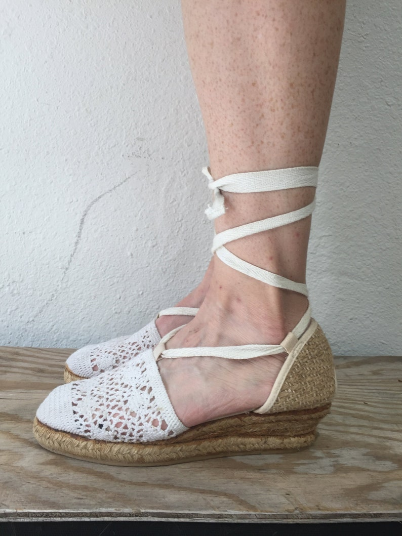 d900fea132a White Espadrille Wedges, Espadrilles Platform 6, White Espadrilles Wrap  Around Sandals, Lace Crochet Women