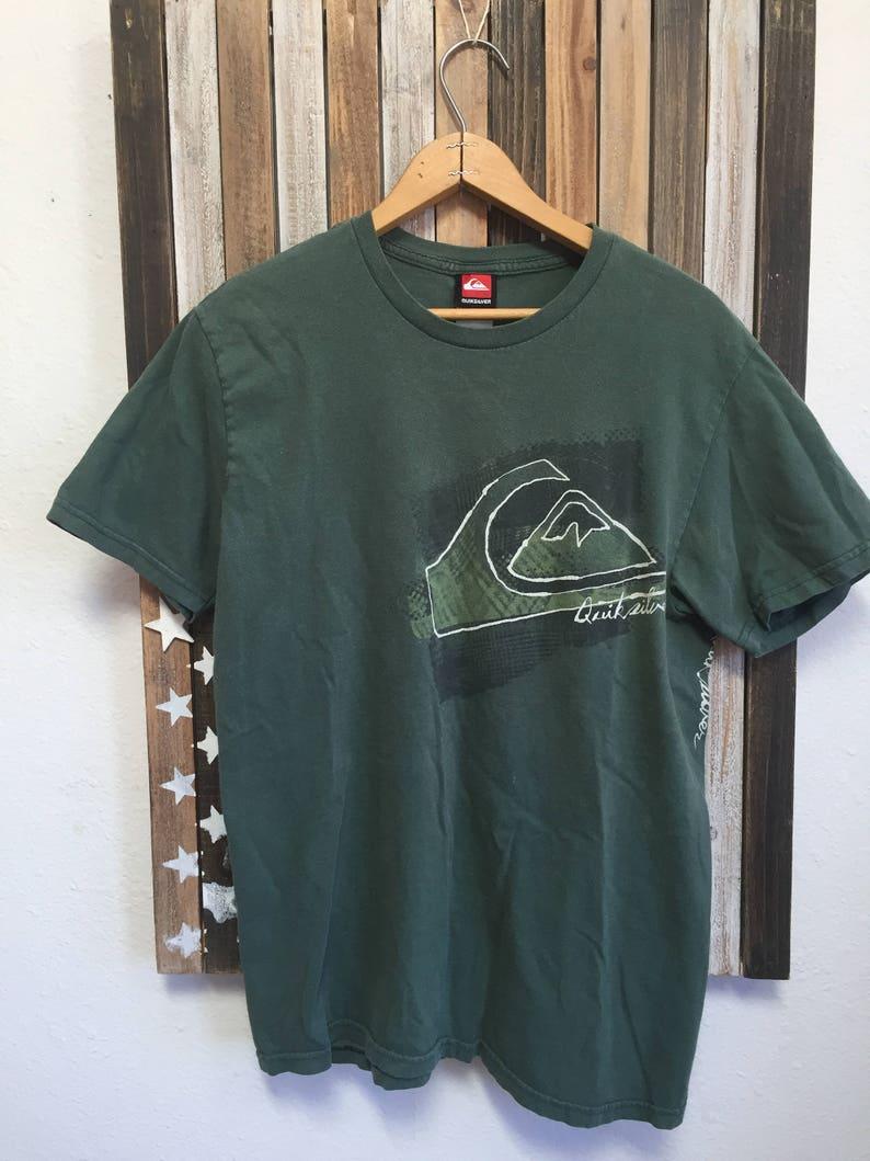 584bbfb26d Vintage 90 s Quicksilver T Shirt Green Short Sleeve Medium