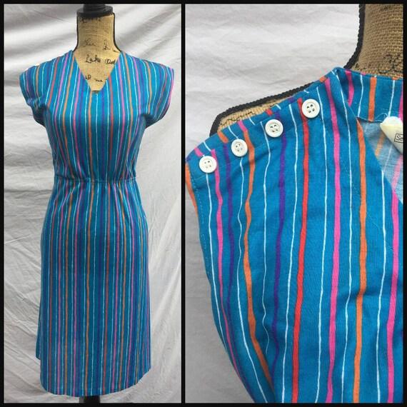 9b7e88dc8c4 Vintage 1970s Rainbow Striped Dress Blue Sundress Womens