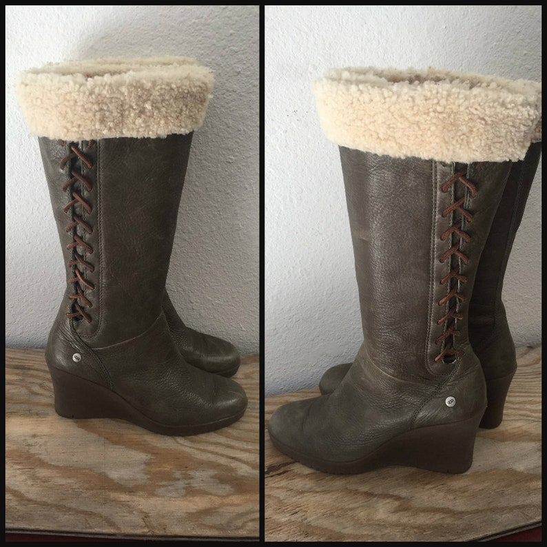 99c1aee940d Size 8 Platform Boots Vintage Women Ugg Boots Knit Cuff Green Leather Zip  Up Lace Up Tall Wedge Heeled Boot Ugg Australia Eur 39, UK 6.5
