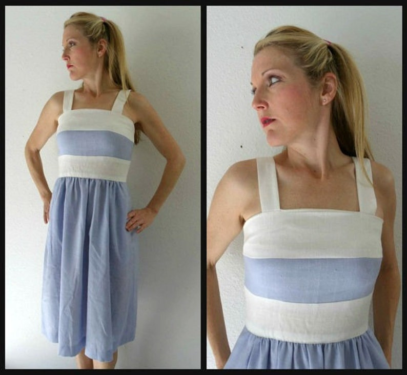 8d8f508870d Vintage 80s Blue and White Striped Summer Dress Chambray