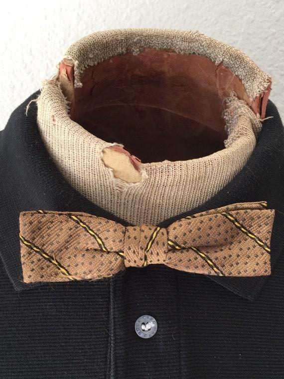 40s Bow Tie Rockabilly Wear Atomic Brown Bow Tie Polka Dot Striped Clip On Mid Century Fashion Vintage Mens Bowtie 1940s