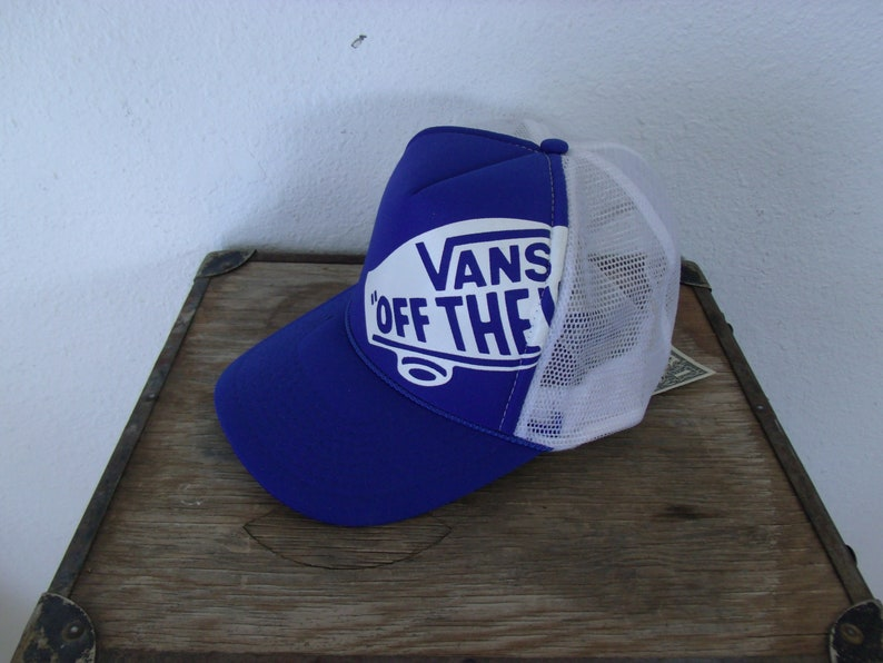 2c7404b9a9 Vintage Snapback Off The Wall Vans Blue and White Hat Cap