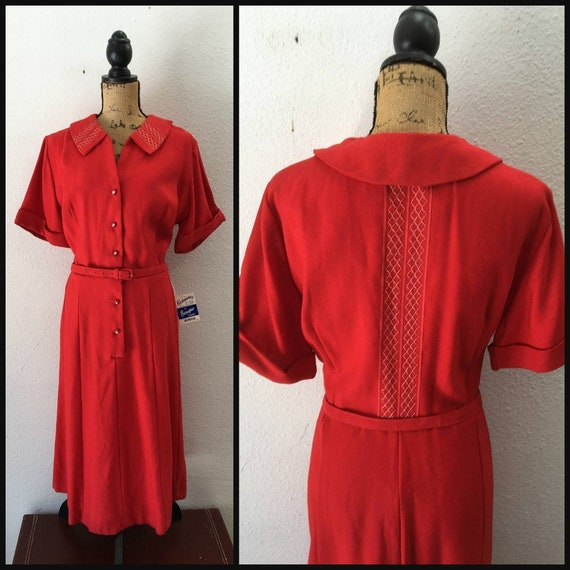 1940s Red Dress in Rayon, Vintage 40s Party Dress,