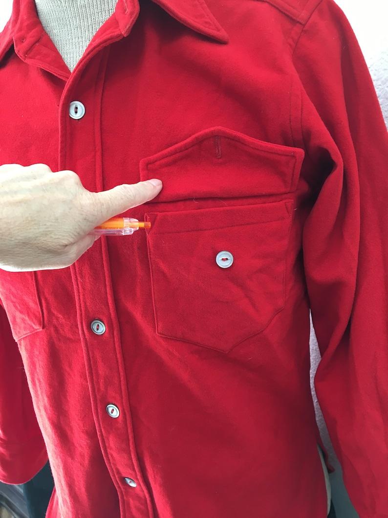 1940s Red Wool Shirt Men Small Medium Christmas Party Holiday