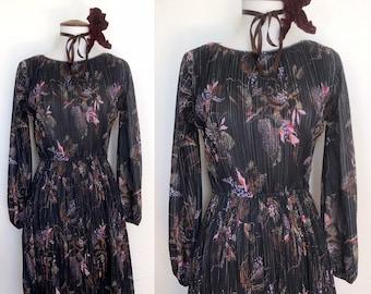 70s Bohemian Floral Party Dress
