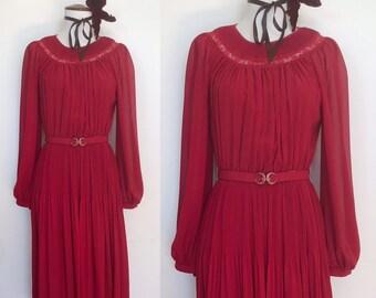 Sweet 70s Wine Red Boho Cocktail Dress
