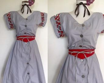 1980s Summer Dress   80s Open Work New Wave Button Up Dress