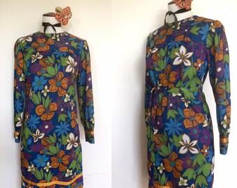 60s Mod Floral Shift Dress | 1960s Summer Minidress
