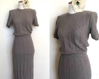 1940s Boucle Glengyle Sportswear Label Hand Loomed Dress | 40s Boho Nubby Knit Dress