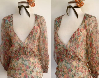 Lovely Christian Dior Silk Floral Blouse