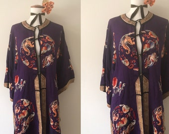 1920s Antique Regal Deep Purple Silk Embroidered Chinese Robe Coat